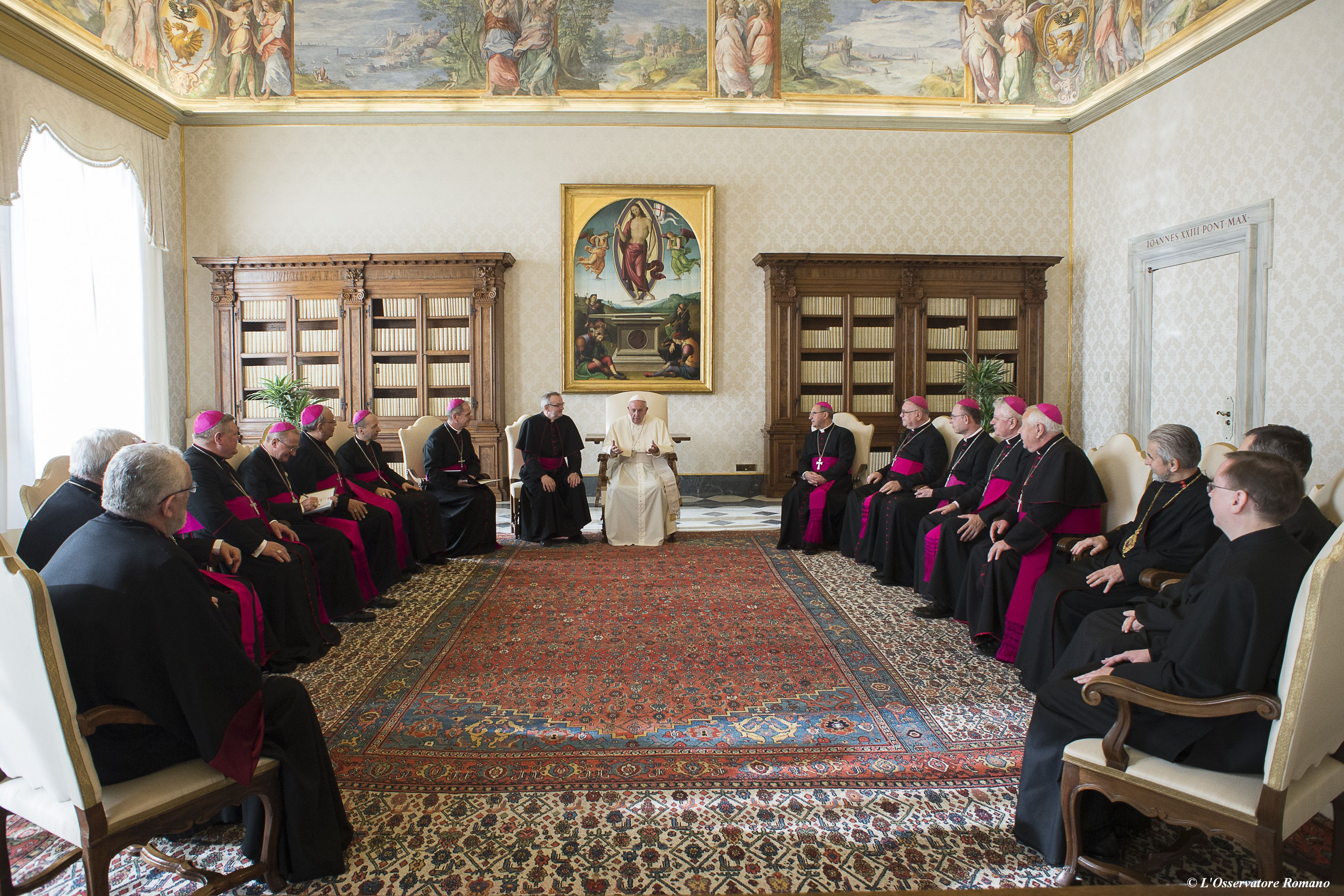 Pope Francis receives the Slovakian bishops as part of their ad limina visit to Rome