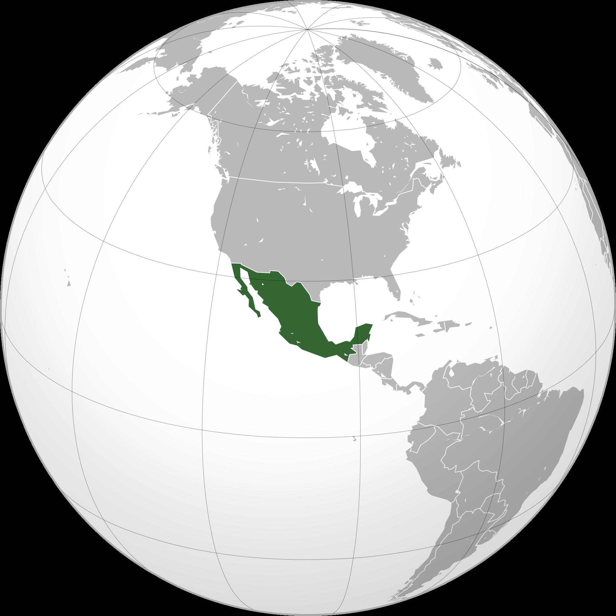 Carte avec le Mexique
