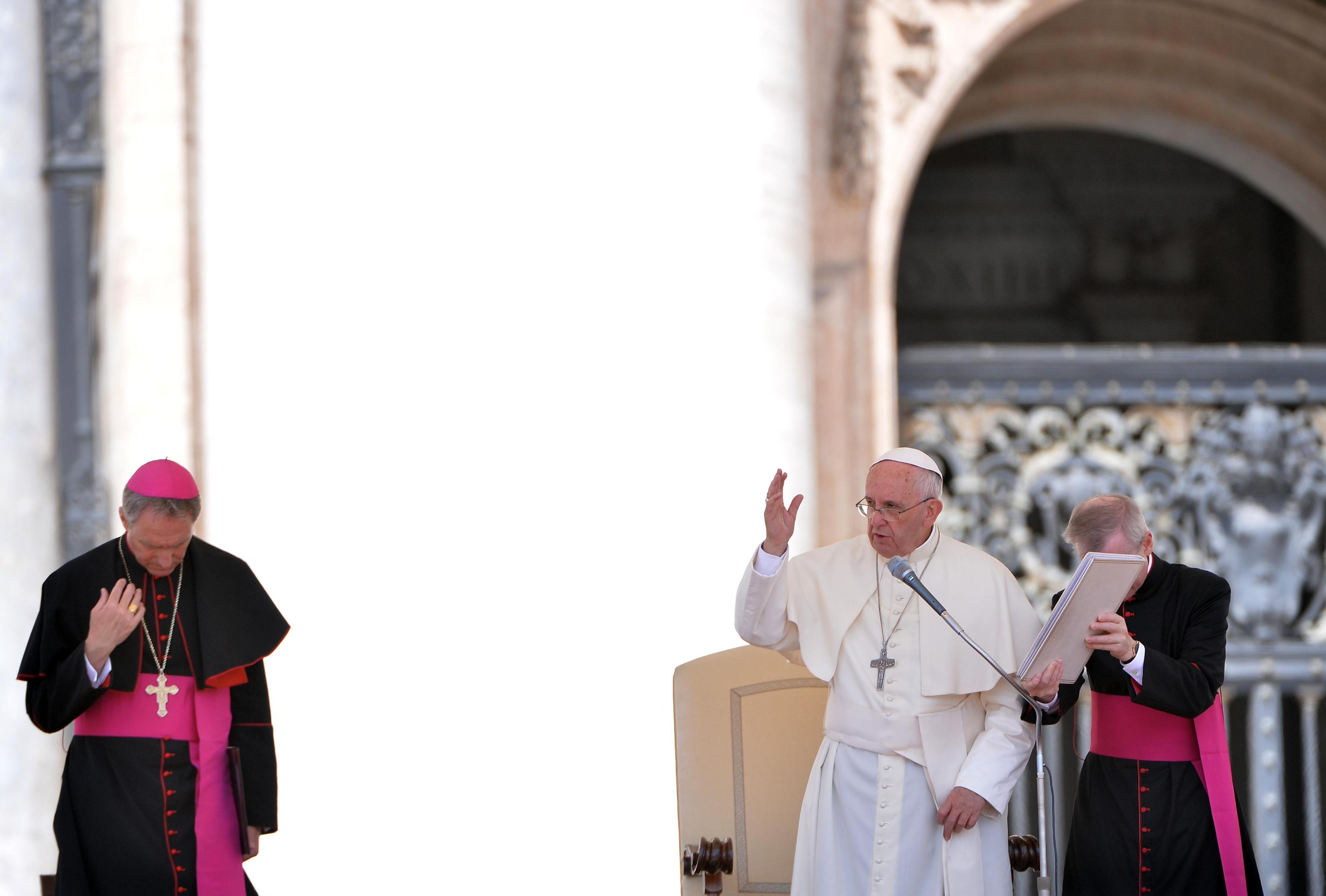Pope Francis blesses the faithful during his weekly general audience