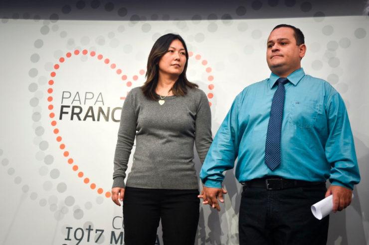 João Batista et Lucila Yurie, parents de Lucas, Fatima © Zenit, AB