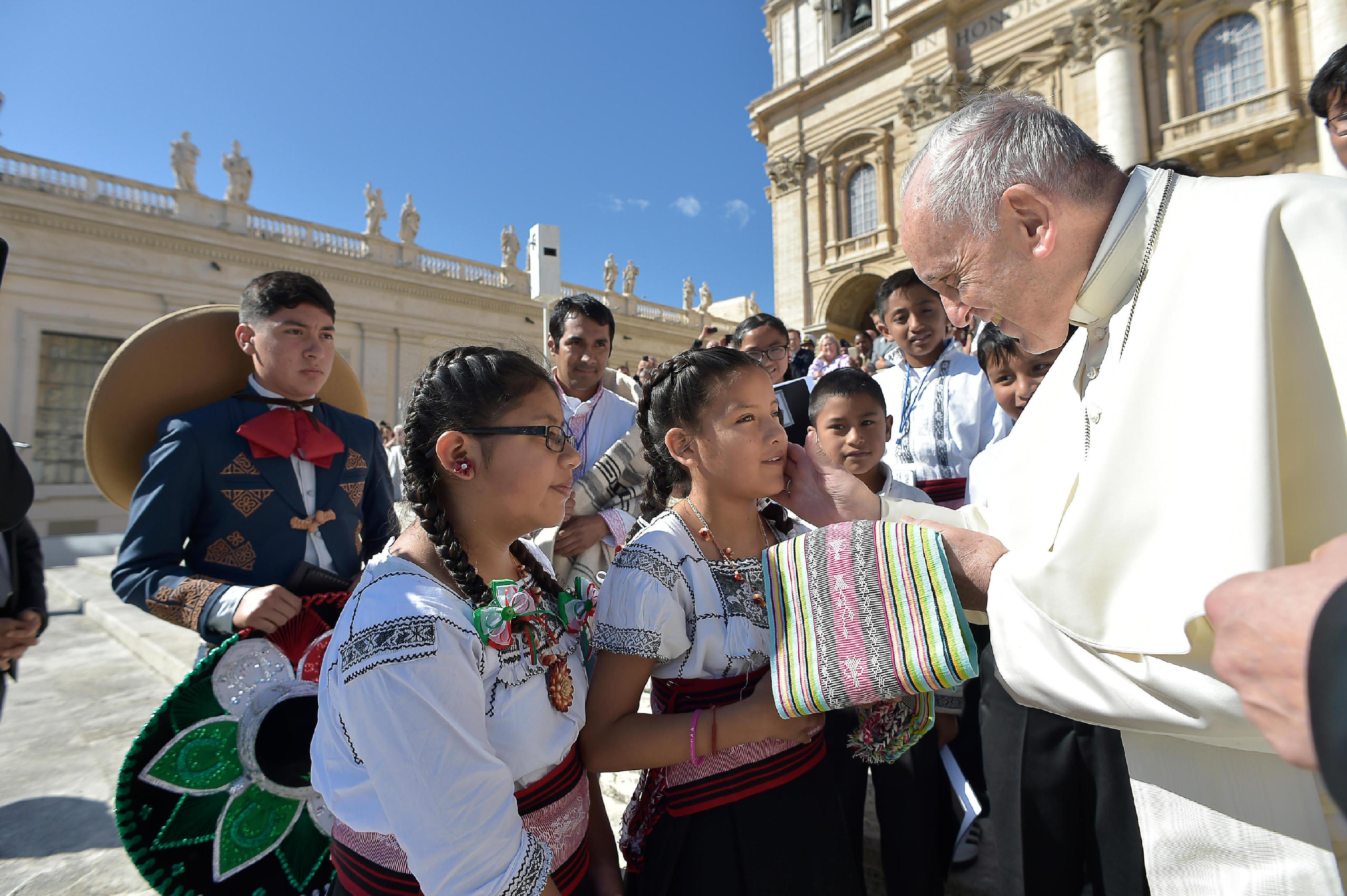 Choeur d'enfants indigènes mexicains Voces Yumhu 20/09/2017 © L'Osservatore Romano