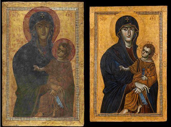 Salus Populi Romani, avant et après la restauration © Vatican Media