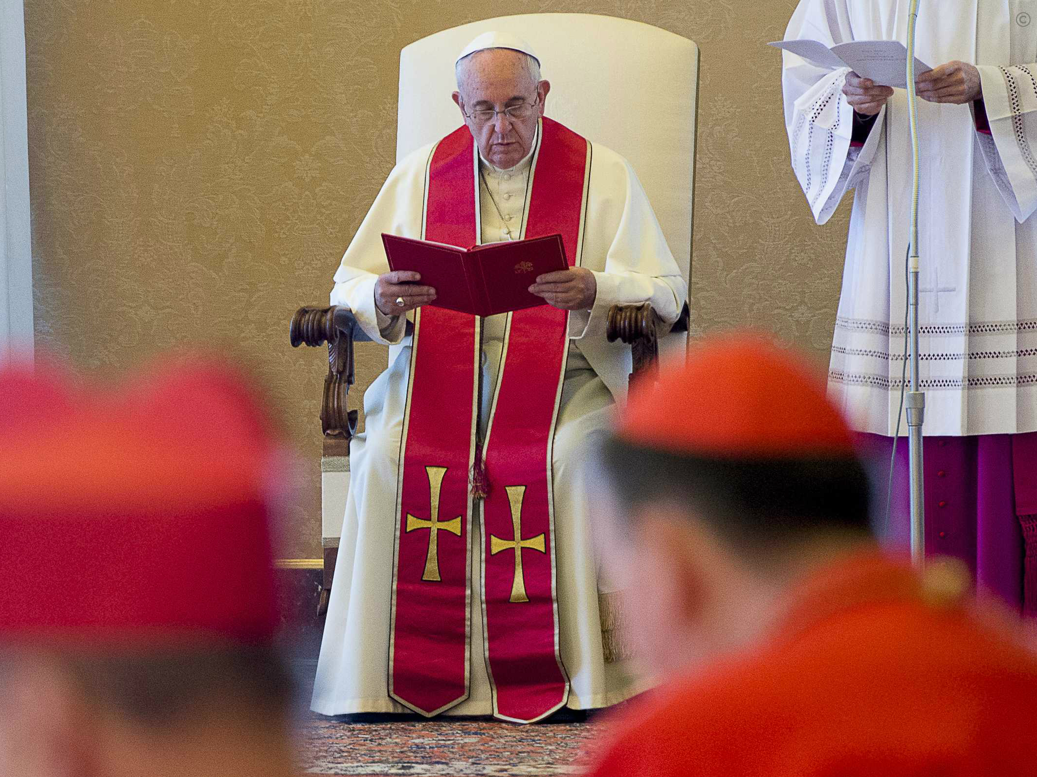 Pope Francis during the Ordinary Consistory in the Apostolic Palace of the Vatican