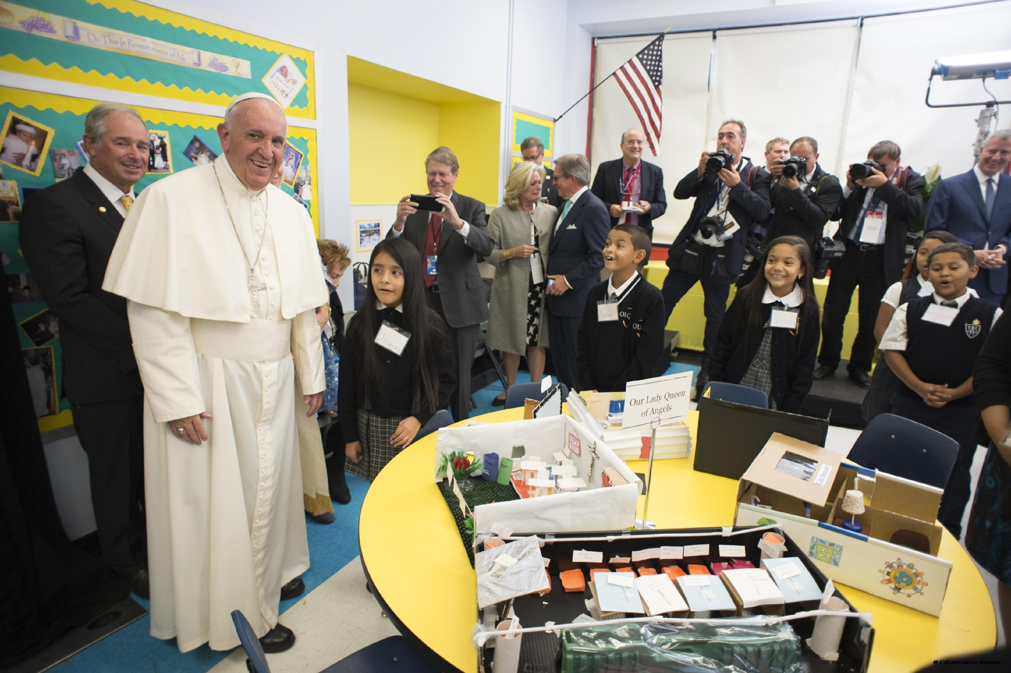 Pope Francis during his visit at Our Lady Queen of Angels School