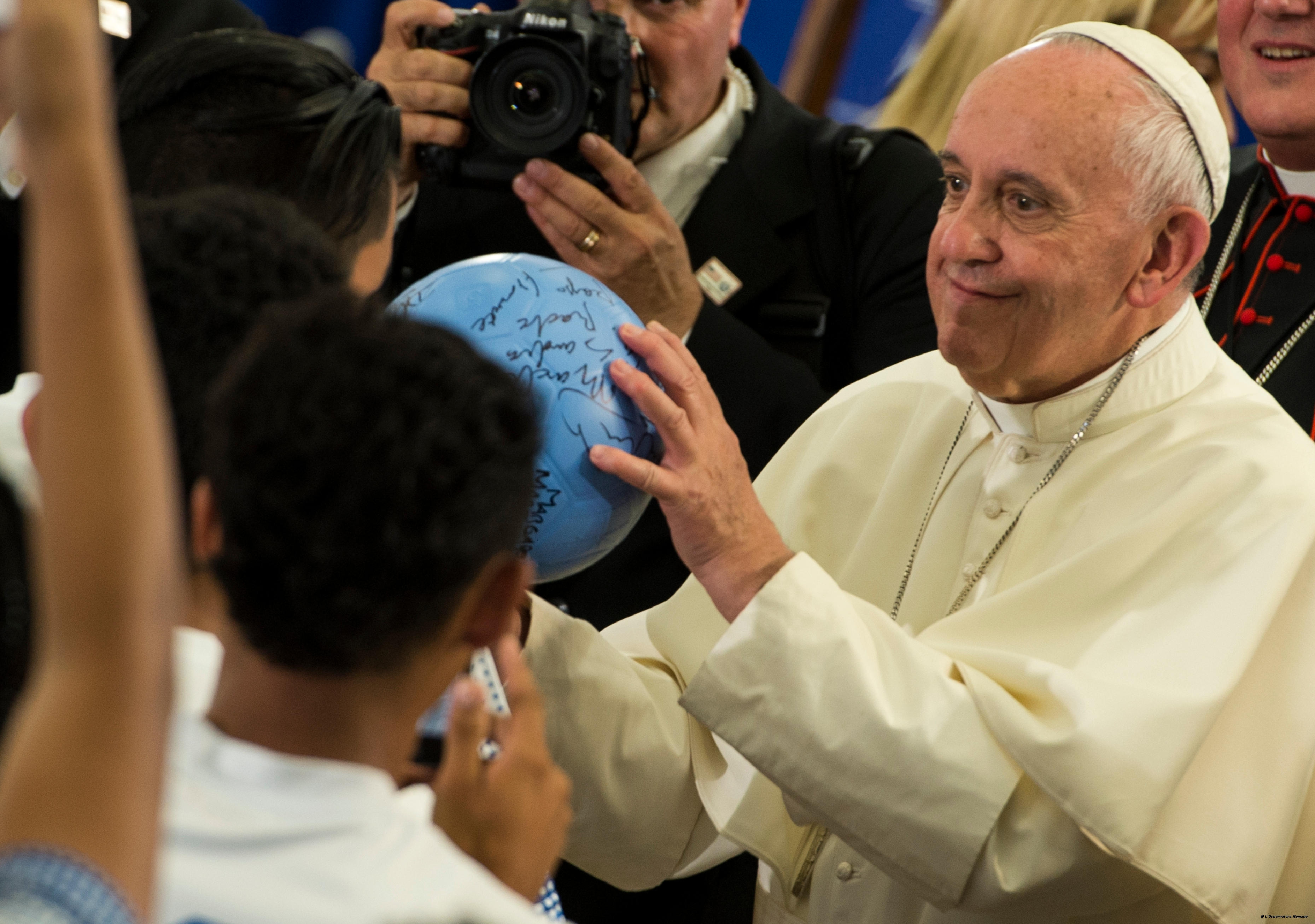 Pope Francis during his visit at Our Lady Queen of Angels School in East Harlem