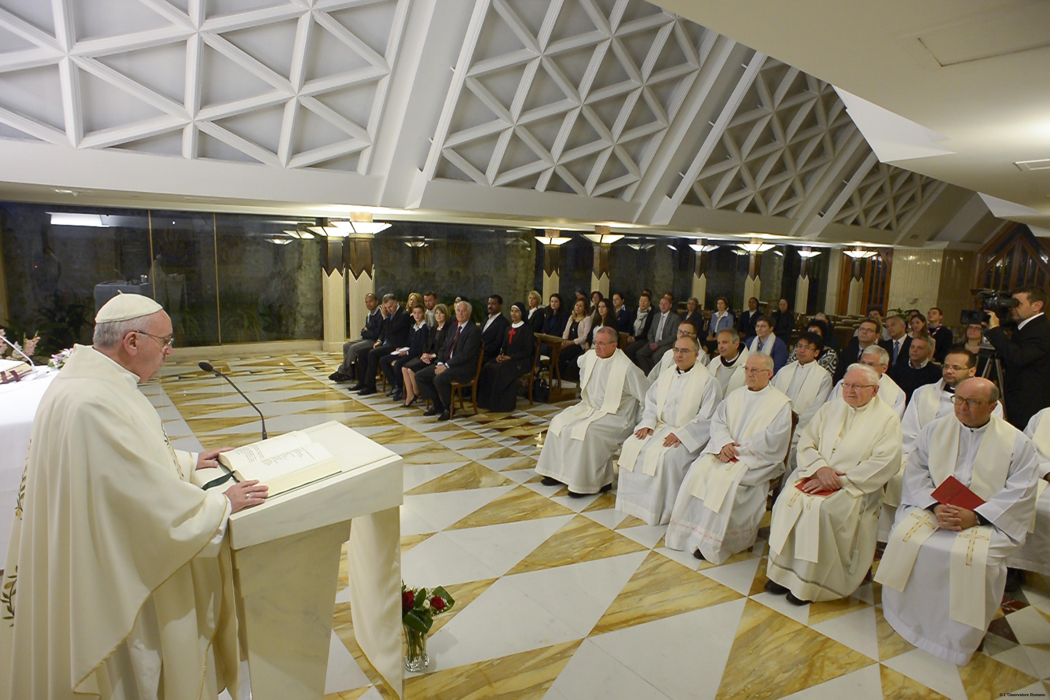 Pope Francis during Morning Mass at Santa Marta
