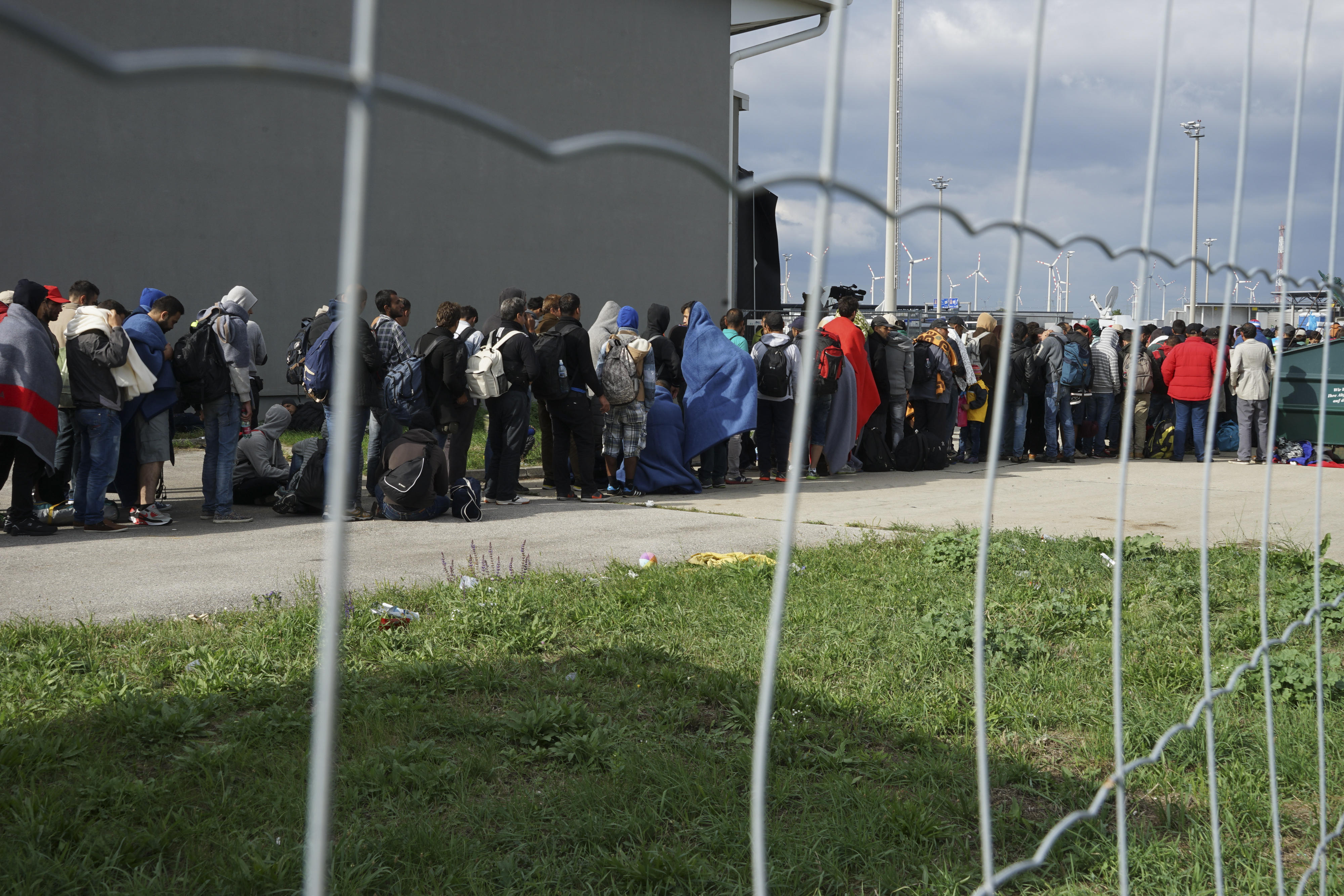 Syrian refugees at the border of Hungary and Austria on their way to Germany. Hungary