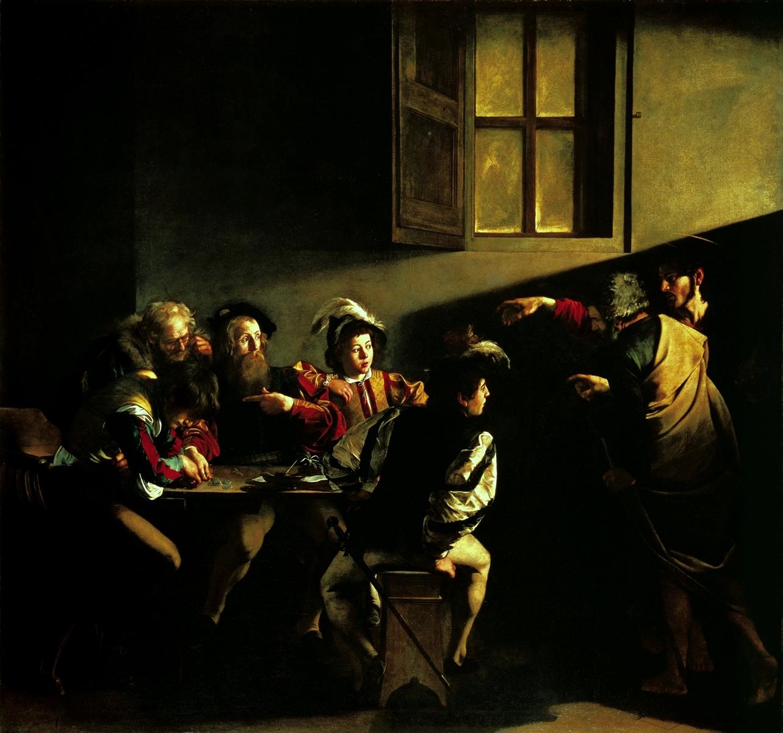 La vocation de saint Matthieu, Le Caravage (1571-1610) WIKIMEDIA COMMONS