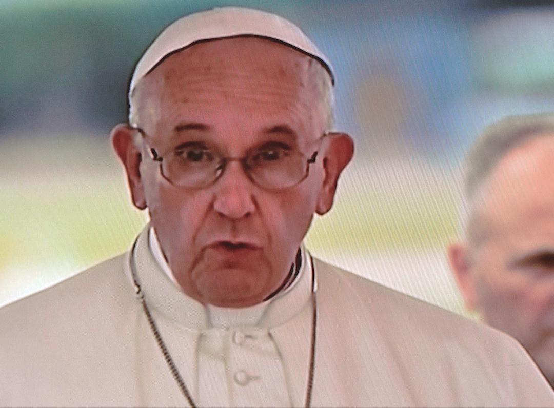 Pope Francis speaking in the airport of La Havana