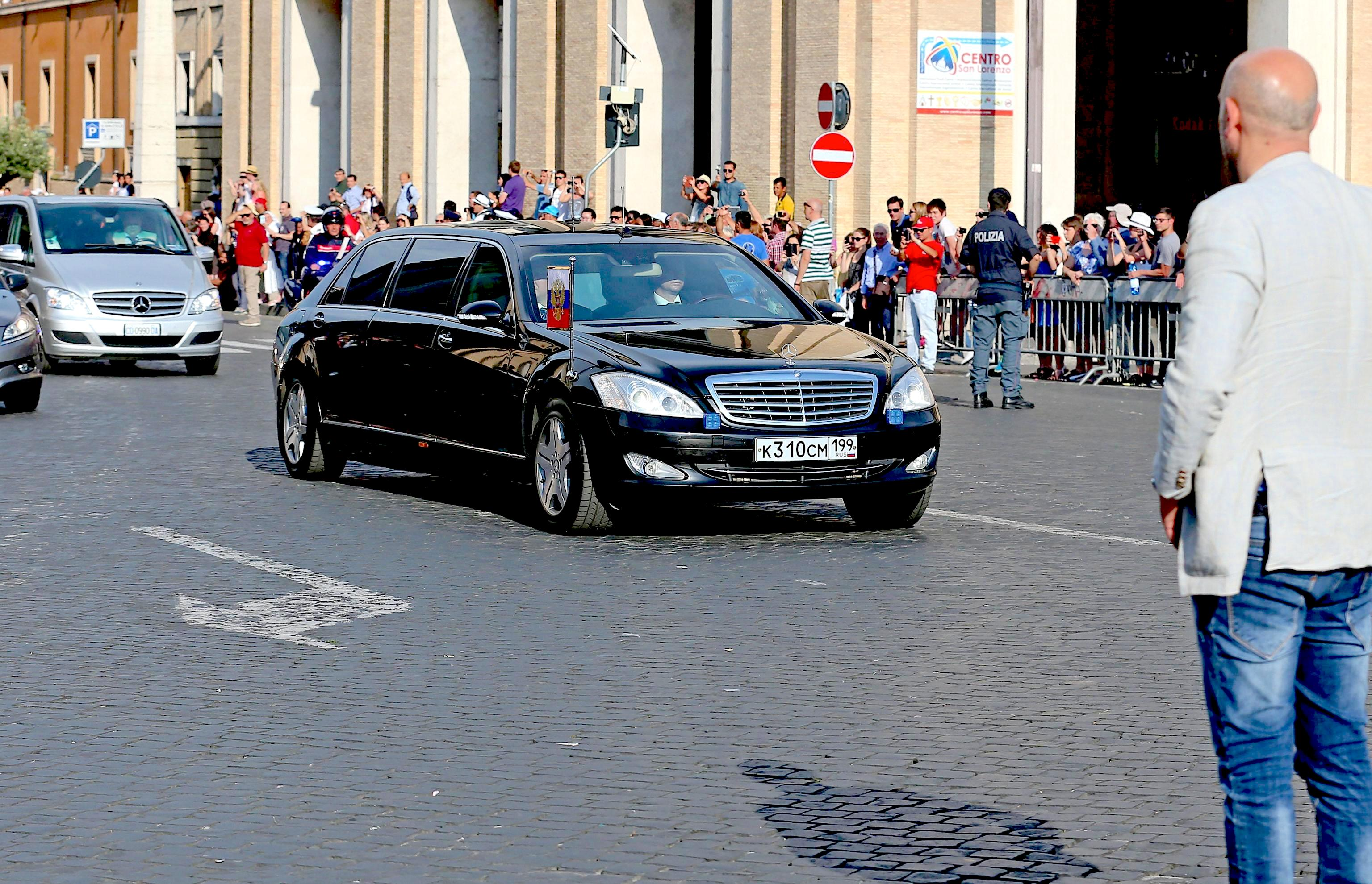 Russian President Vladimir Putin arrives at the Vatican for a private audience with Pope Francis
