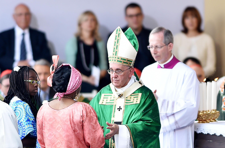 Pope Francis during Mass in Turin's Vittorio Veneto square