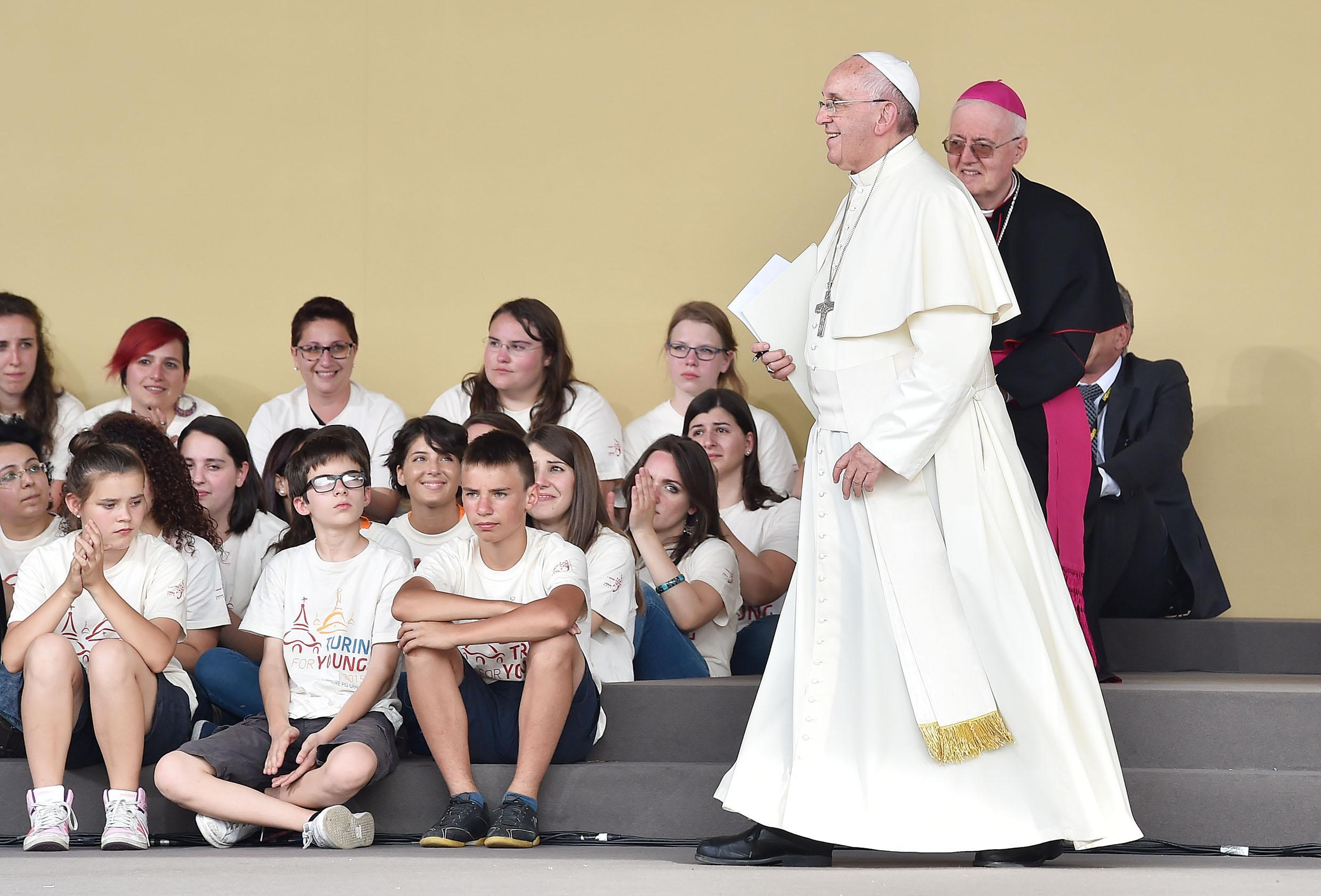 Pope Francis during his meeting with young people in Piazza Vittorio