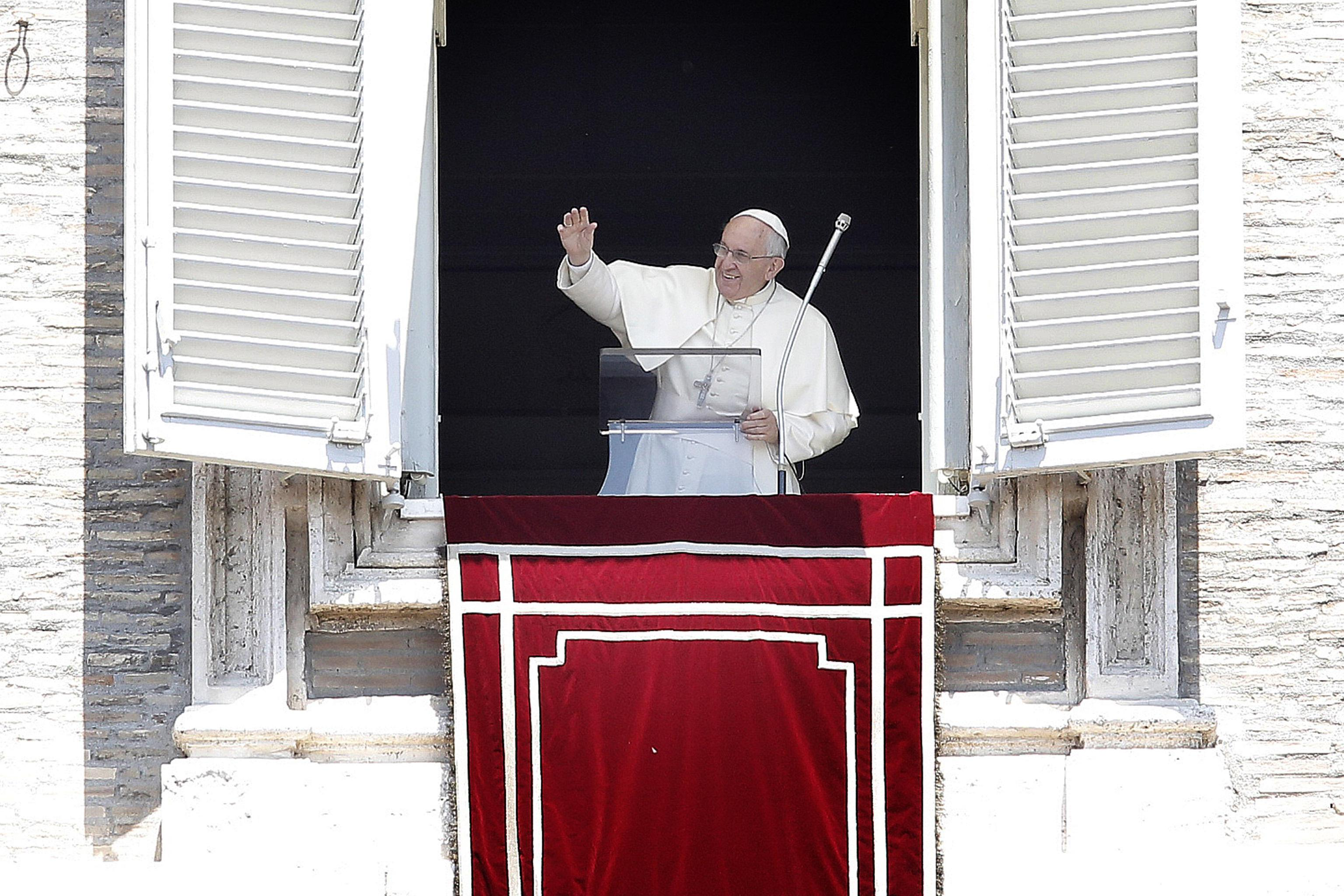 Pope Francis during the Angelus prayer in St. Peter's square (Sunday