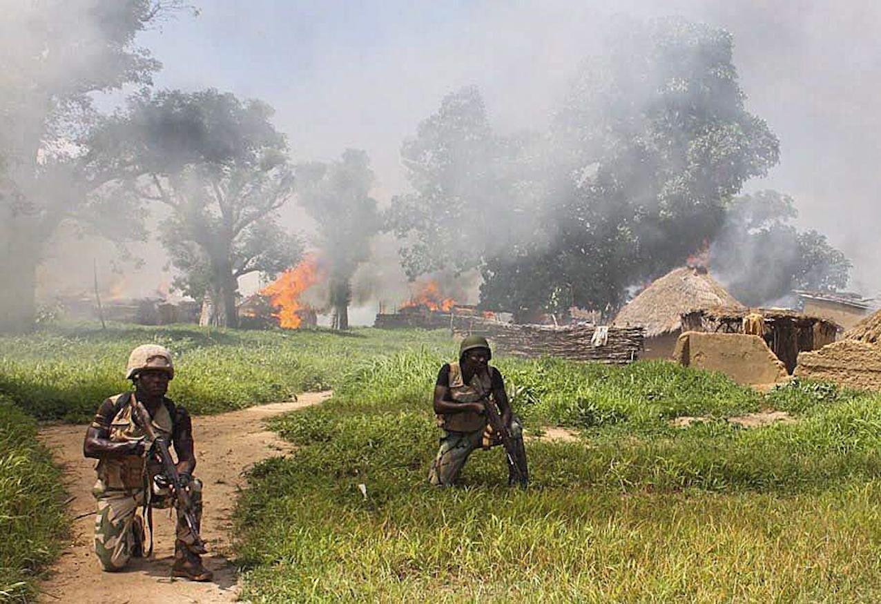 Soldiers from 21 Brigade and Army Engineers clearing Islamic militant group Boko Haram camps at Chuogori and Shantumari in Borno State