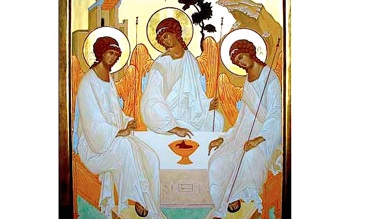 Icône de l'Hopitalité d'Abraham, dit de la Sainte-Trinité, inspirée par l'îcône d'André Roublev