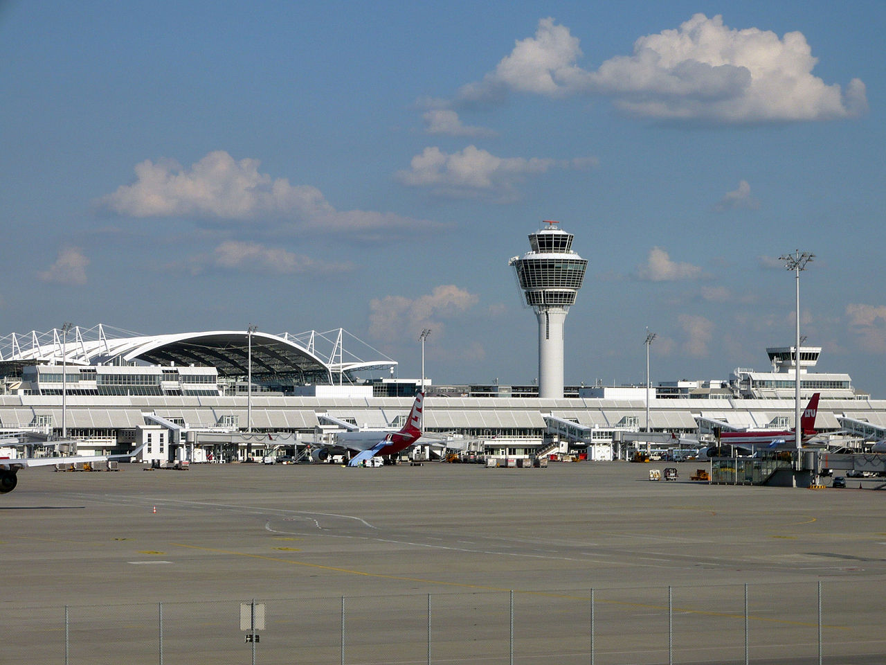 View of Munich Airport from the runway