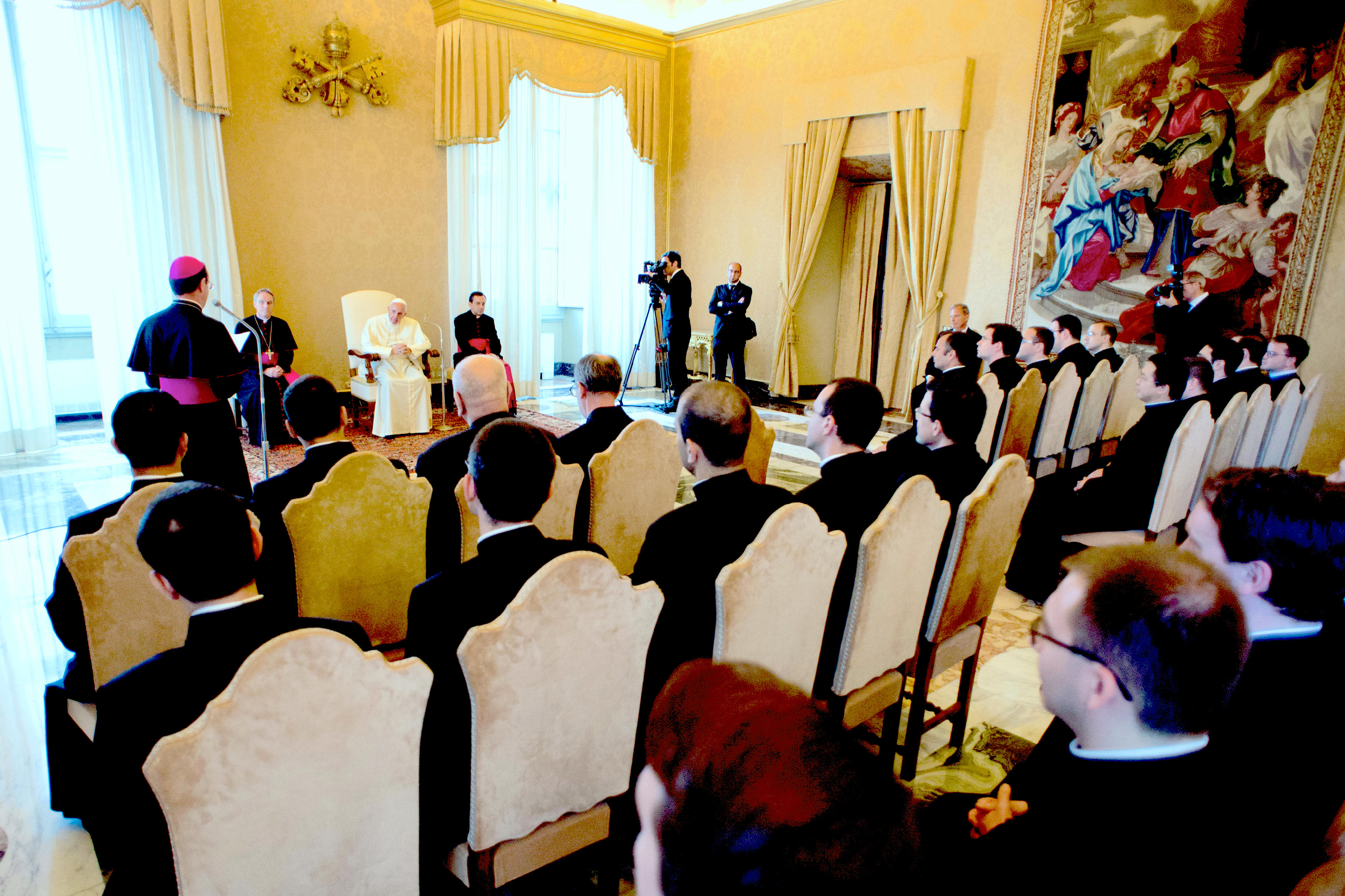 Pope Francis meets at the members of the Pontifical Ecclesiastical Academy in the Apostolic Palace