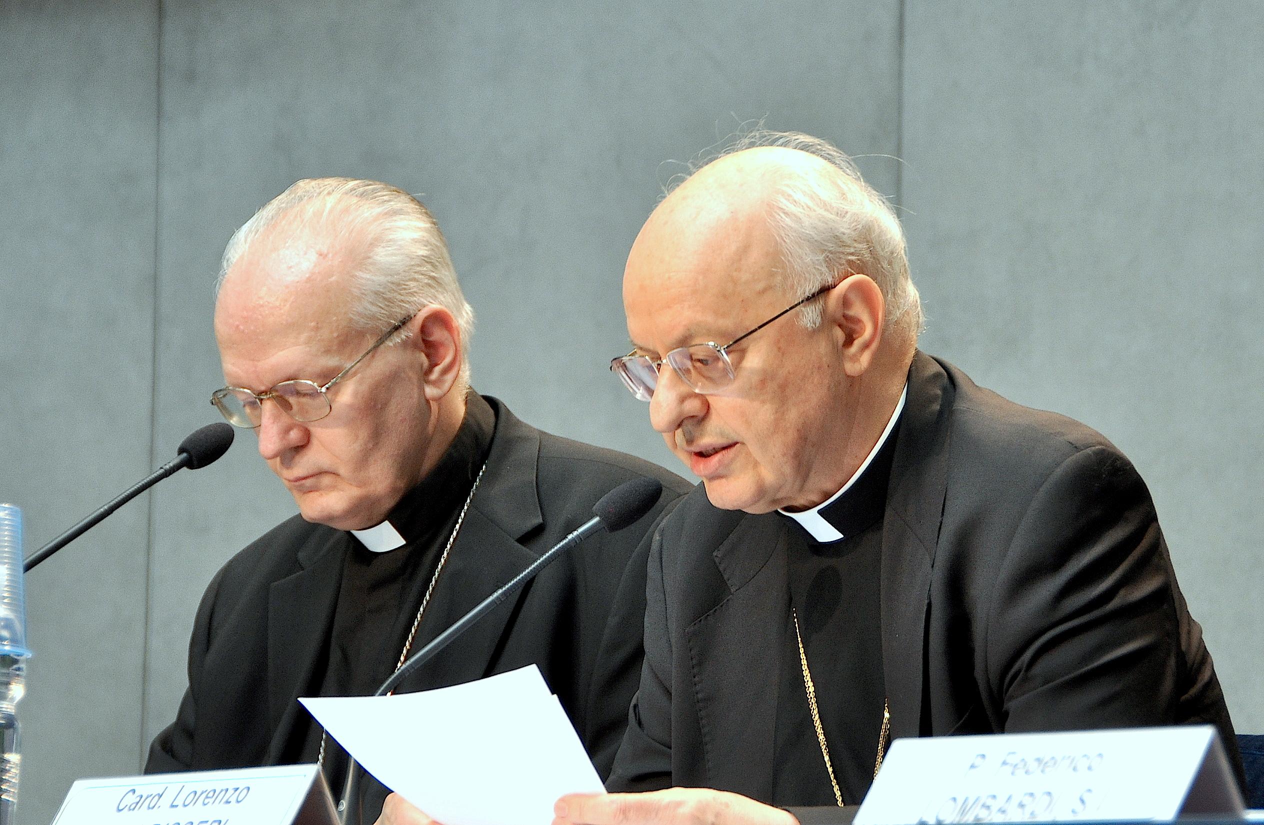 Cardinals Baldiserri and Erdó during the presentation of instrumentum laboris in the vatican press room - 23 June 2015