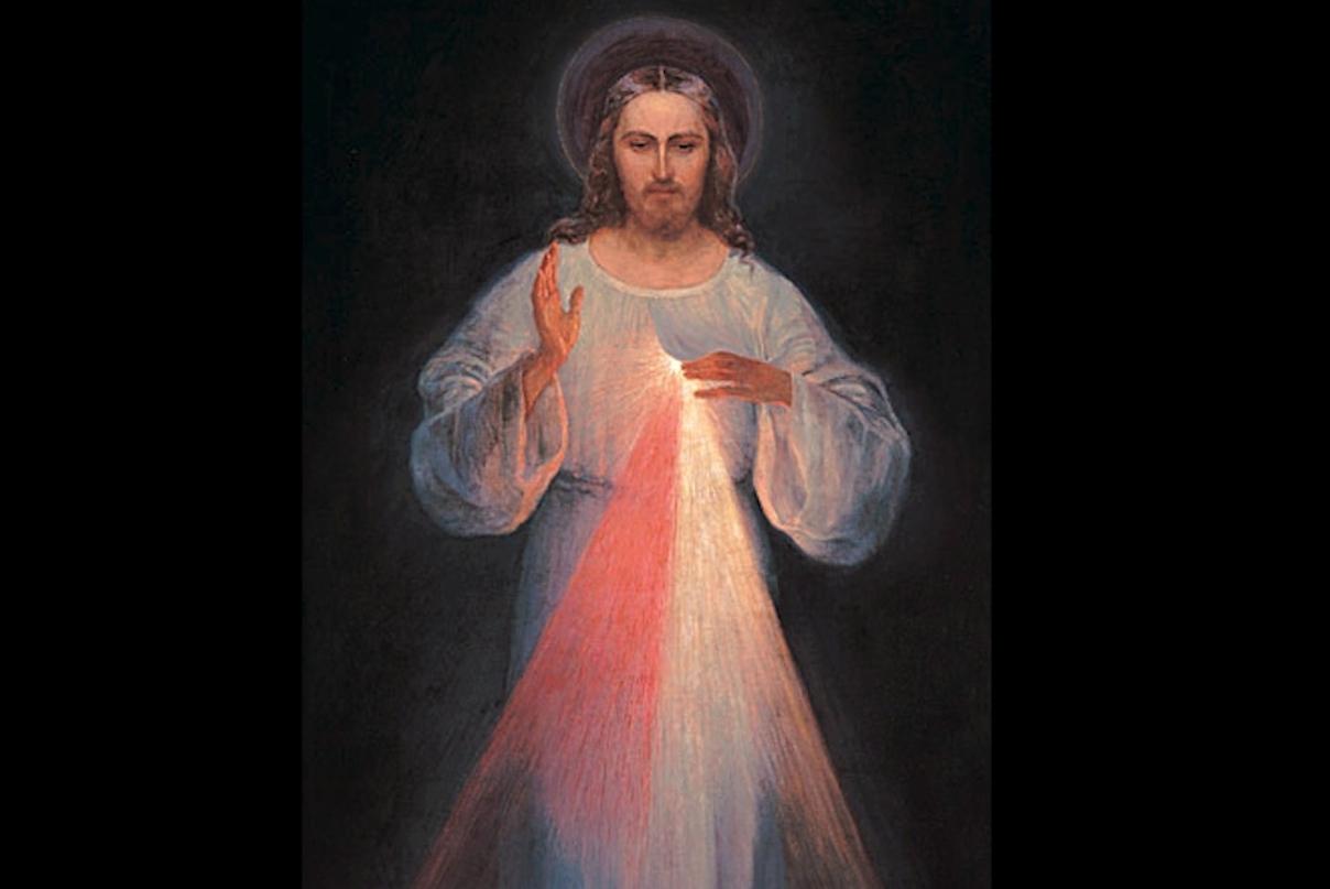 Jésus miséricordieux, tableau de Vilnius par Eugeniusz Kazimirowski @ faustine-message.com