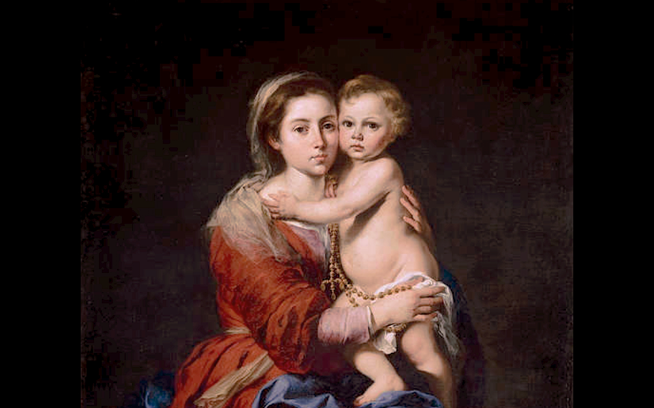 Our Lady of Rosary  with s. Dominic ad s. Catalina of Siena - 1800. Virgen del Rosario