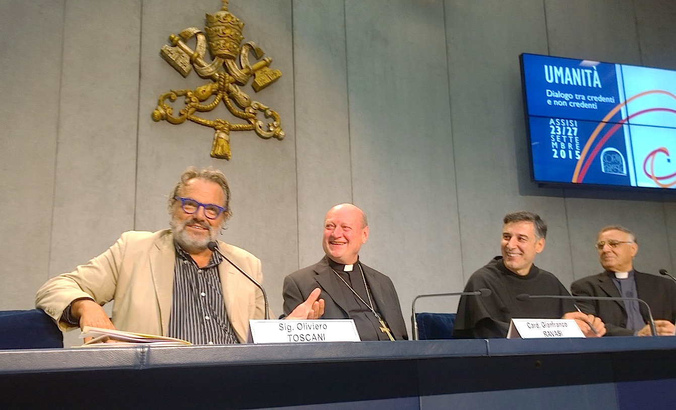 Photograf Olliviero Toscani in the press room of the Holy See - 14 Sept 2015