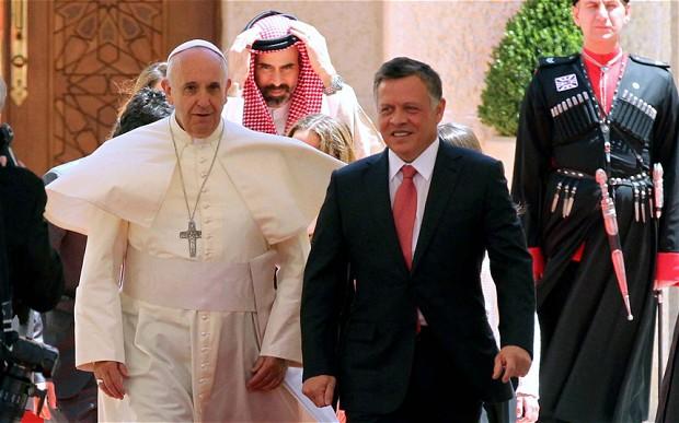 Le pape François reçu par le roi Abdallah de Jordanie, à Amman, mai 2014, PCID