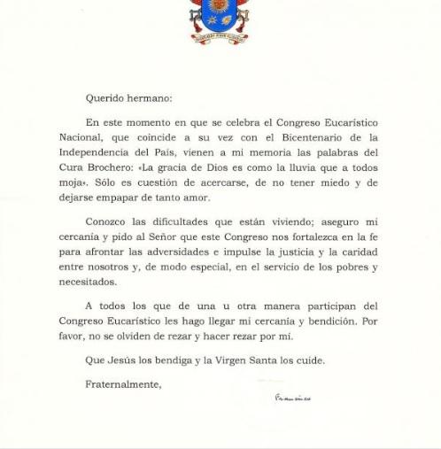 Lettre du pape pour le congrès eucharistique d'Argentine (c) radiomaria.org.ar