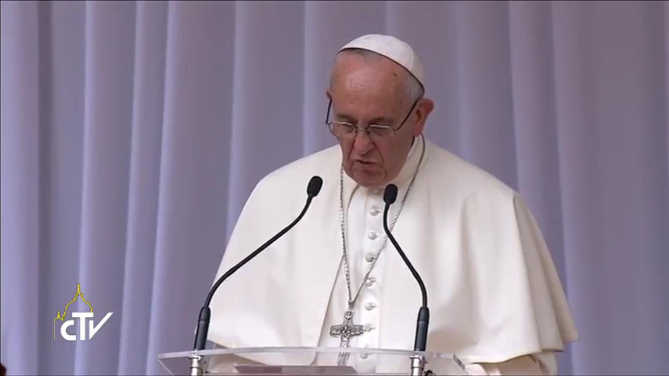 Le pape François au Wawel, capture CTV, 27 juillet 2016