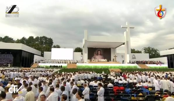 Messe d'ouverture des JMJ Cracovie 2016, capture KTO