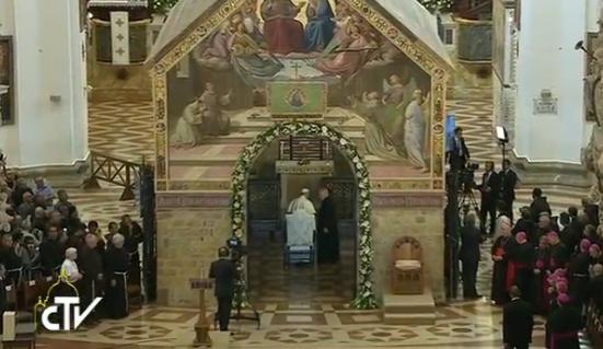 Pape François à la Portioncule d'Assise © CTV