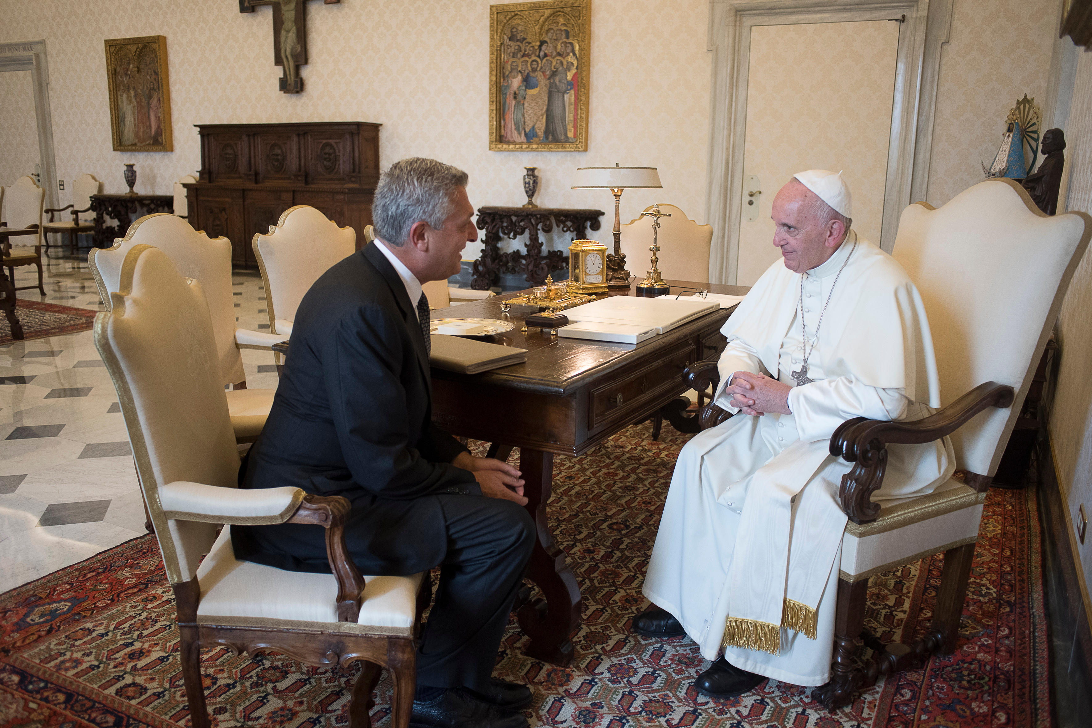 Filippo Grandi reçu par le pape François, 15 sept. 2016 © L'Osservatore Romano