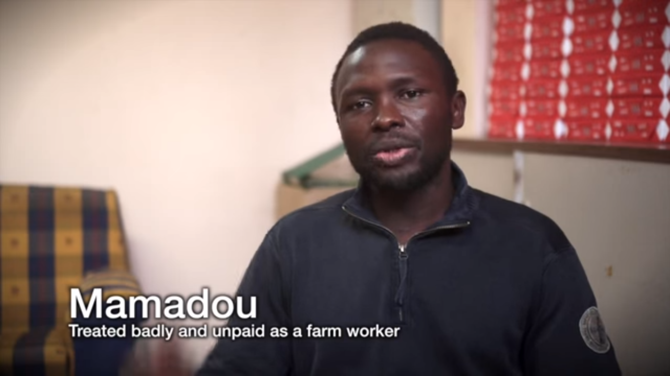Mamadou, exploité et maltraité comme employé de ferme © capture, COATNET