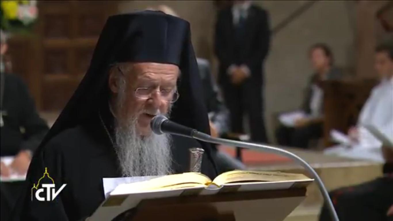 Méditation du patriarche Bartholomée, Assise, capture CTV