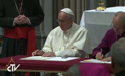 Célébration avec l'archevêque anglican Welby à Rome, capture CTV