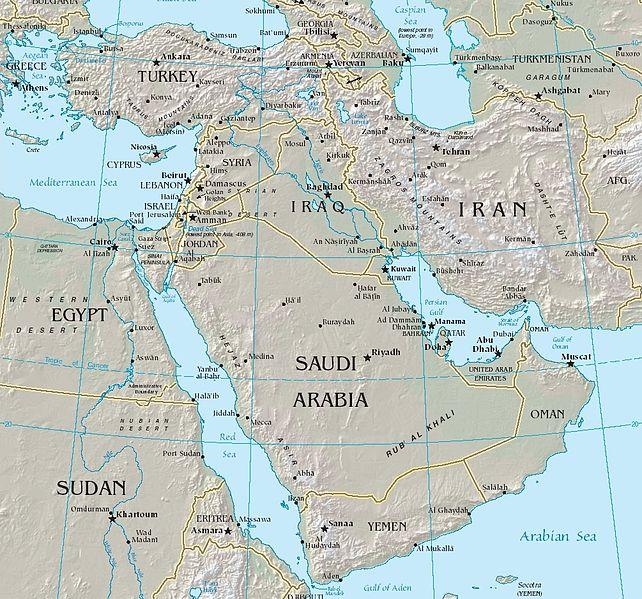 Carte du Moyen-Orient © Wikimedia Commons, domaine public