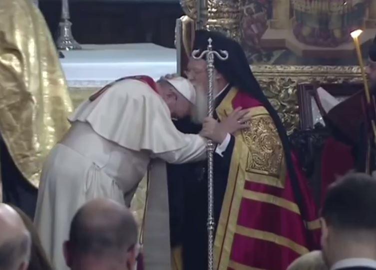 Pape François et patriarche Bartholomée Ier, capture CTV