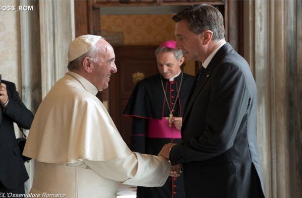 Rencontre avec le président Pahor de Slovénie © L'Osservatore Romano