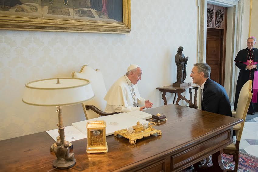 Jens Stoltenberg (OTAN) reçu par le pape François © L'Osservatore Romano