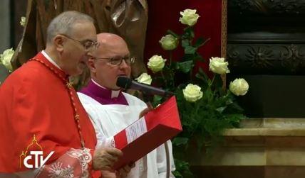 Le cardinal Zenari, Consistoire pour la création de nouveaux cardinaux, capture CTV
