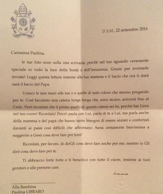 Lettre du pape à Paolina