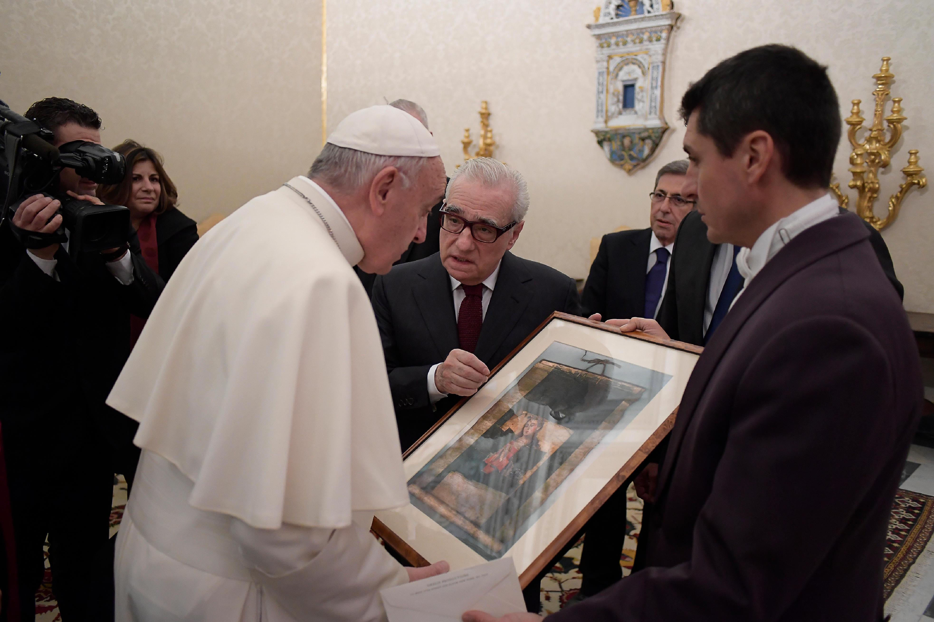 """Le pape reçoit Martin Scorsese, réalisateur de """"Silence"""" © L'Osservatore Romano"""