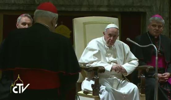 Salutations du cardinal Sodano, capture CTV