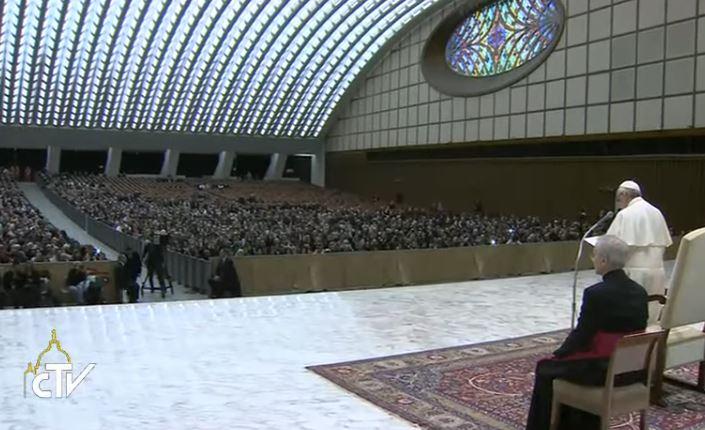 Voeux de Noël 2016 aux employés du Vatican, capture CTV