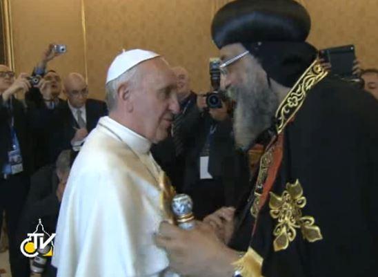 Le pape reçois Tawadros II, 10 mai 2013 , capture CTV