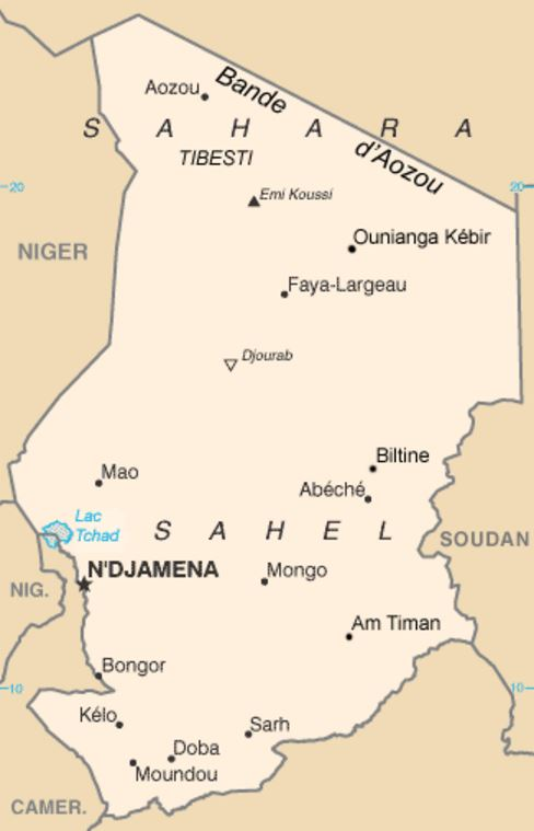 Carte du Tchad © Wikimedia commons / CIA
