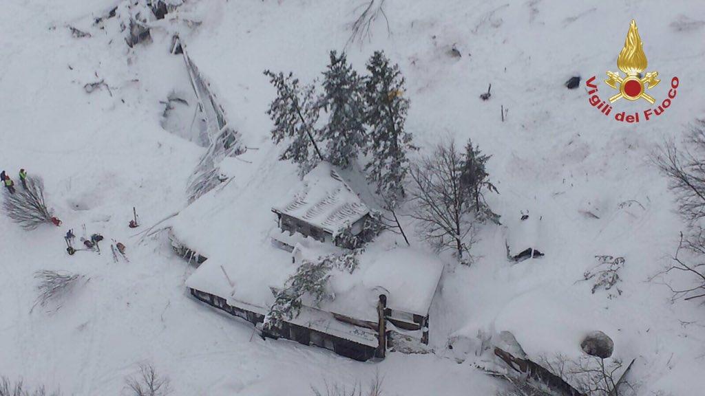 Avalanche en Italie © Twitter Vigili del Fuoco