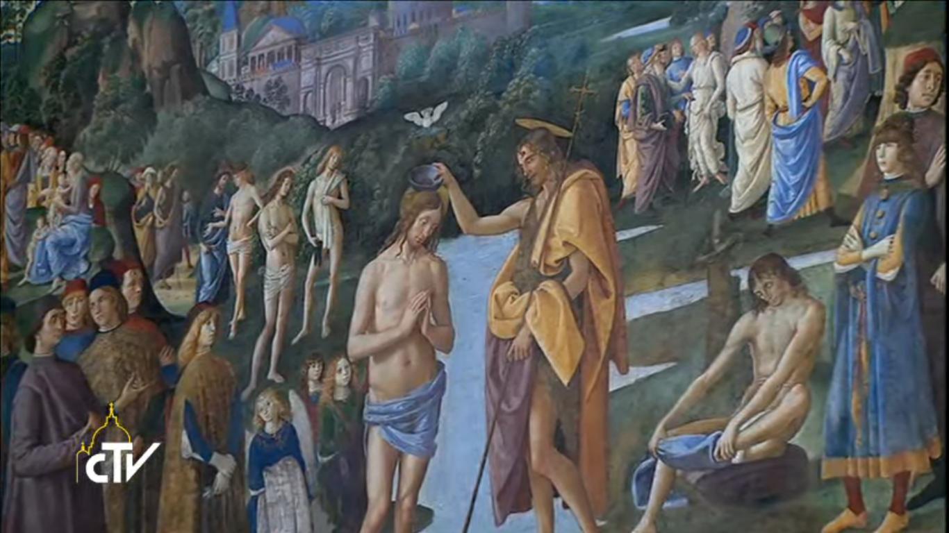 Le Baptême du Christ (Le Pérugin) Chapelle Sixtine, capture CTV