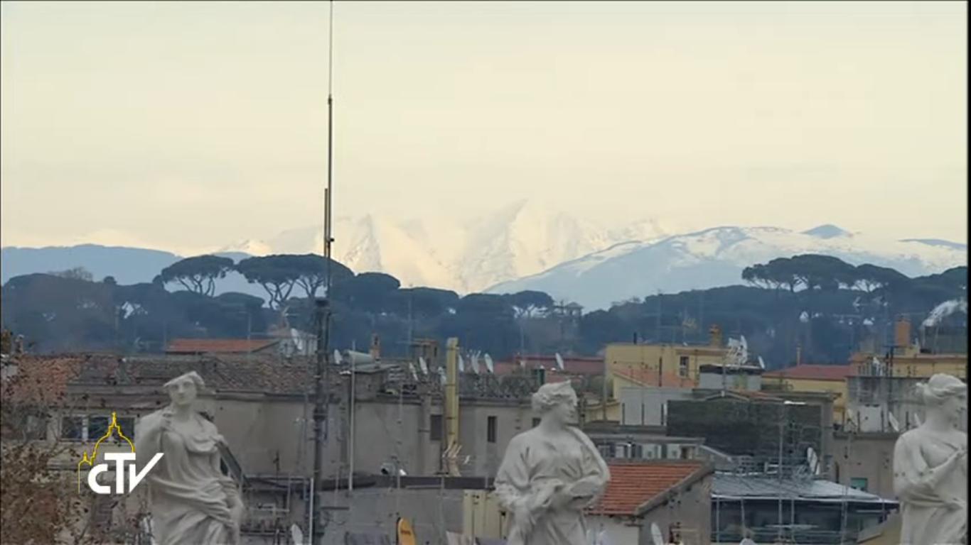 Neige sur les collines autour de Rome, 8 janvier 2017, capture CTV