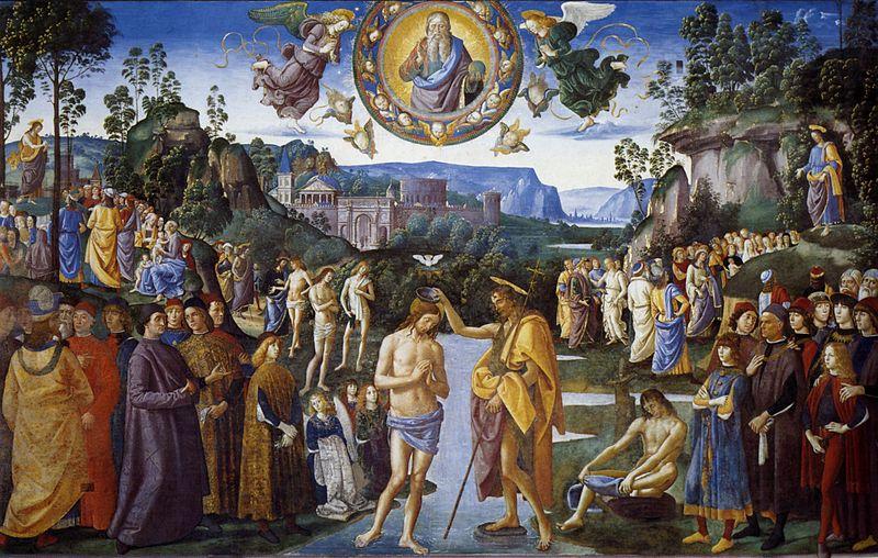 Le Baptême du Christ par Le Pérugin Chapelle Sixtine (domaine public)