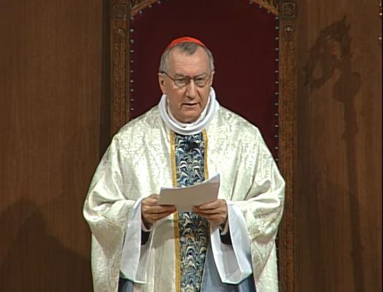 Le cardinal Parolin célèbre la Journée du malade, capture vidéo sanctuaire de Lourdes